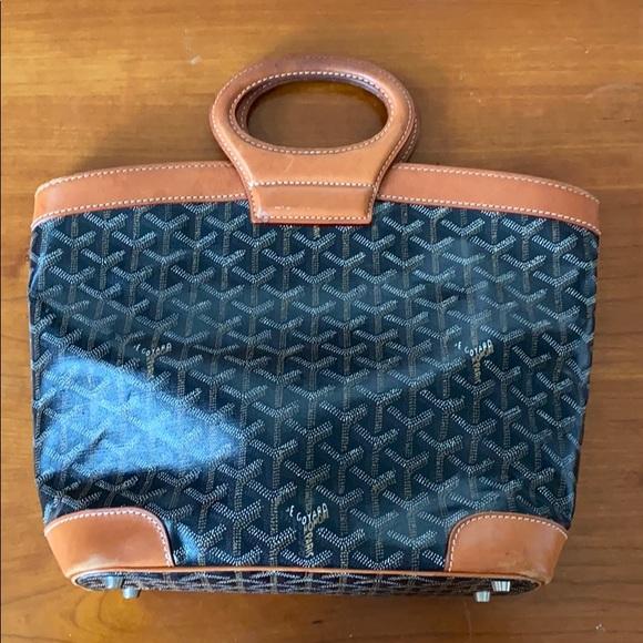 Vintage Goyard black & tan leather handbag